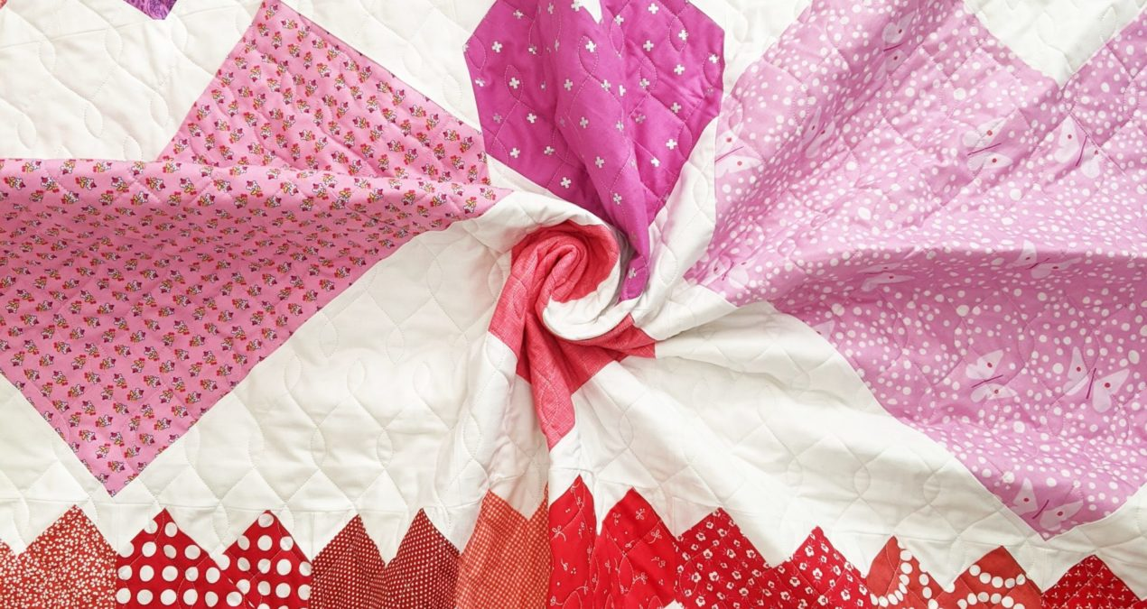 Cordate (the rainbow heart quilt)
